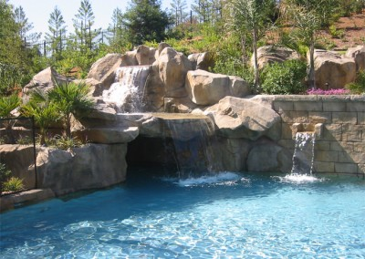 Custom cast rock cave and pool waterfall.
