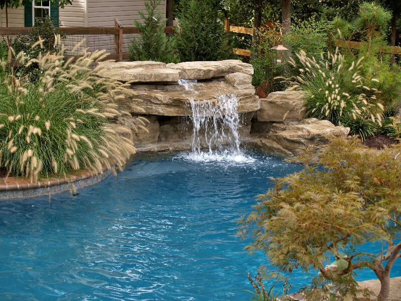 4 piece ledger swimming pool waterfall kit ricorock inc for Cascadas de agua artificiales para jardin