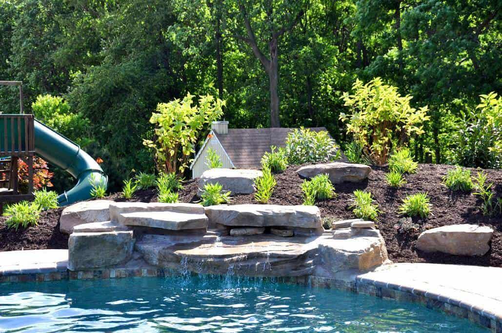 Modular pool waterfall gallery ricorock inc for Prefab inground pools