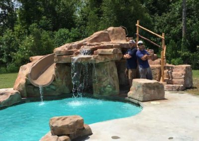 RicoRock Waterslide/Grotto in Jacob Landry's home.