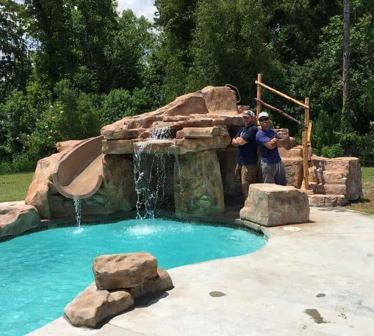RicoRock Waterslide/Grotto in Jacob Landry's home.