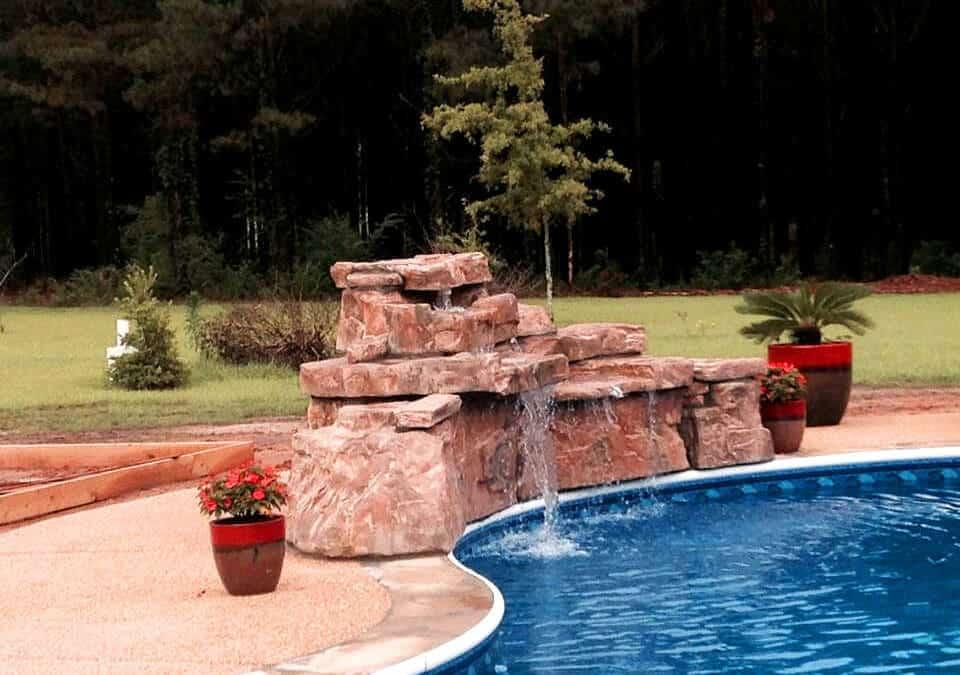 RicoRock 4 Ft. Double Swimming Pool Waterfall Kit