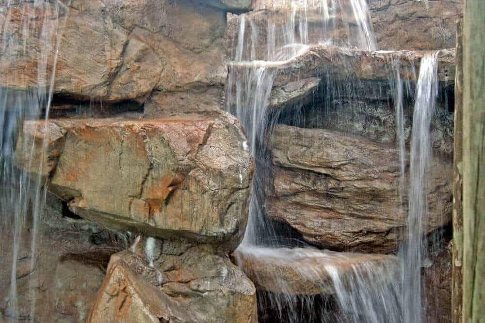 Closeup of the rockwork