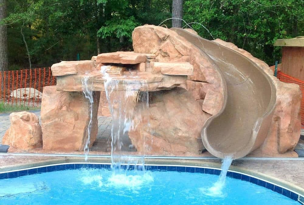 Ricorock slide package w inter fab slide - How to build a swimming pool waterfall ...