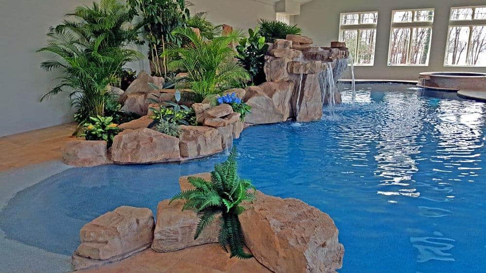 Custom Rock Work on an Indoor Pool
