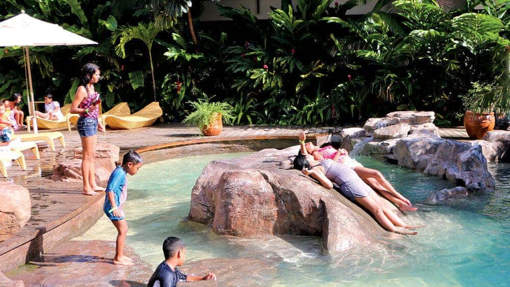 Kids Playing on Custom RicoRock Rockwork at Jacana Resort