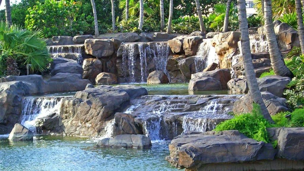 Custom Waterfall at the Radisson Aruba