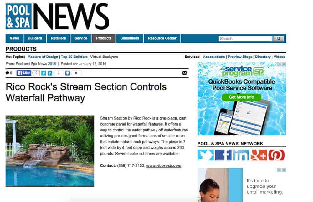 Stream Section Featured in Pool & Spa News