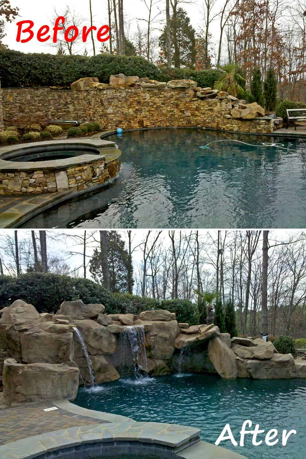 Custom pool remodel before after ricorock inc for Pool redesign