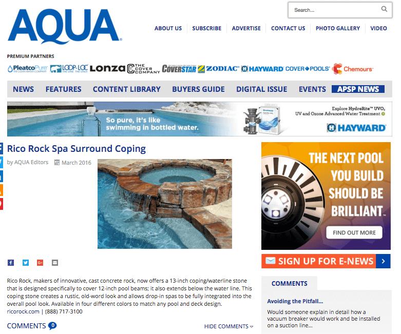 RicoRock Spa Surround Coping in Aqua Magazine