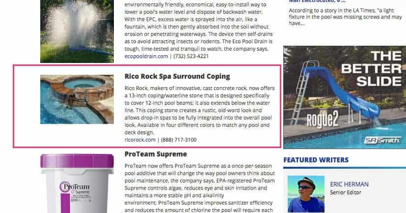 RicoRock featured in Aqua Magazine's New Products