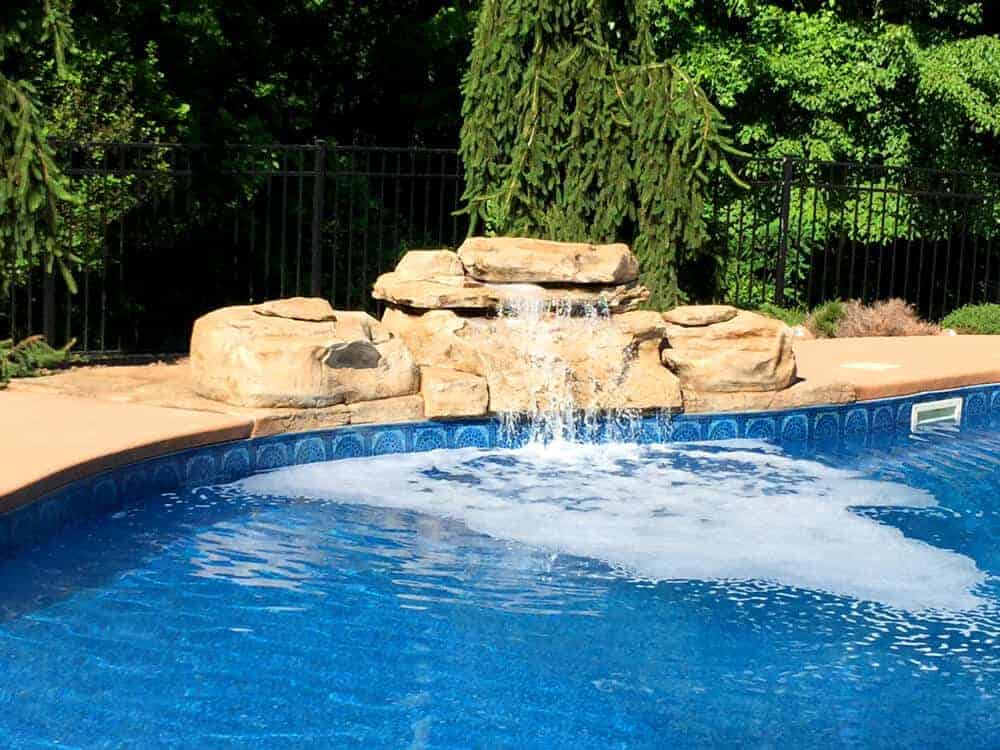 Ricorock tennessee ledger swimming pool waterfall for Prefab waterfalls for ponds
