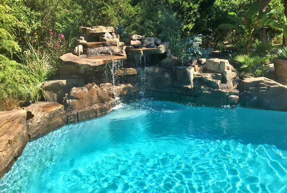 RicoRock 4 Foot Double Swimming Pool Waterfall w/ Boulders