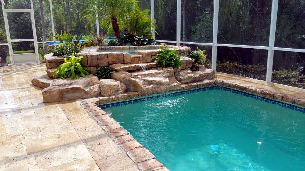 Spa with Tennessee Ledger Waterfall Kit, Boulders & More