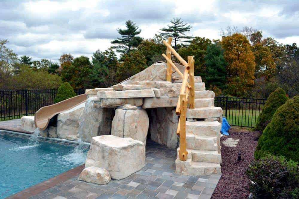 ricorock waterslide steps grotto
