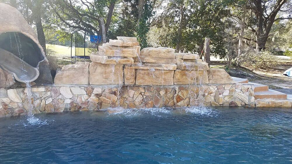 Pool Remodel Featuring RicoRock Waterfalls in Oklahoma Sandstone