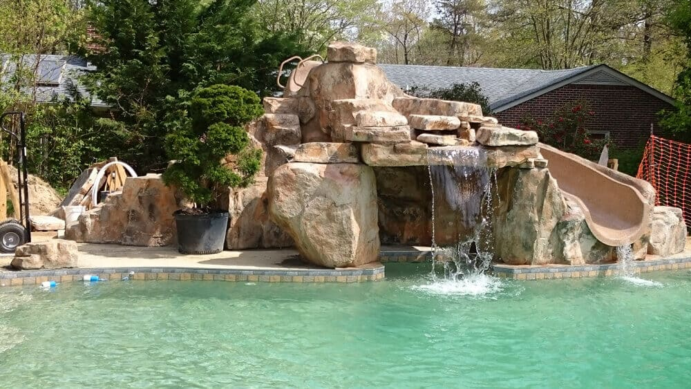How Much Should A Faux Rock Waterfall Slide Combo Like This Run Trouble Free Pool