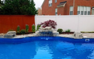28″ Waterfall and Assorted RicoRock Boulders in a Pool in VA
