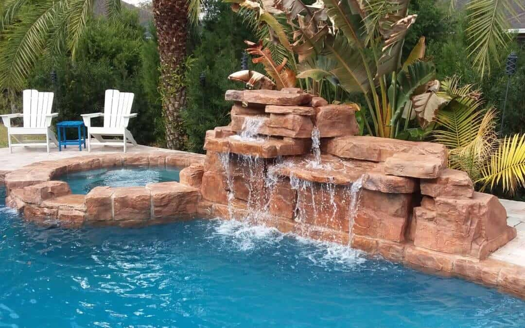 Our amazing 4ft double waterfall ricorock inc for Pool garden leipzig