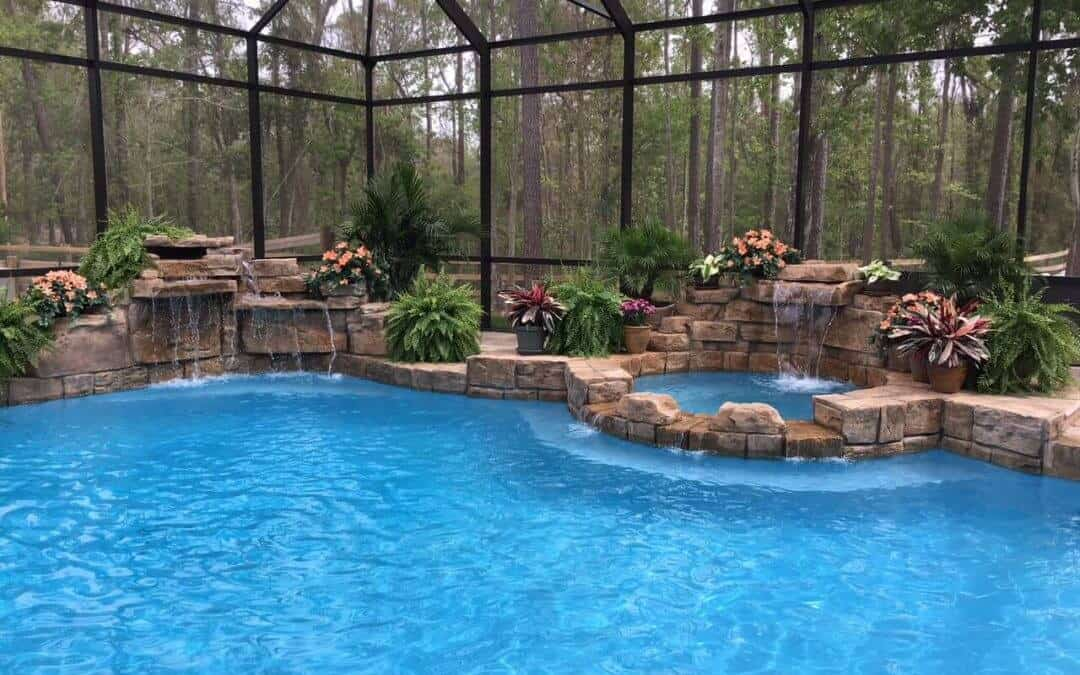RicoRock Artificial Rock Swimming Pool Waterfall with Coping