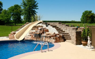 4 Foot Double Swimming Pool Waterfall Installed by Homeowner