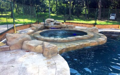 RicoRock Texas 2 Step Waterfall Kit on a Spa
