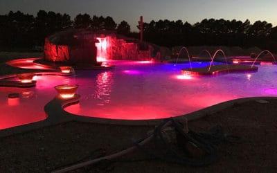 Custom RicoRock Grotto w/ Slide at Night