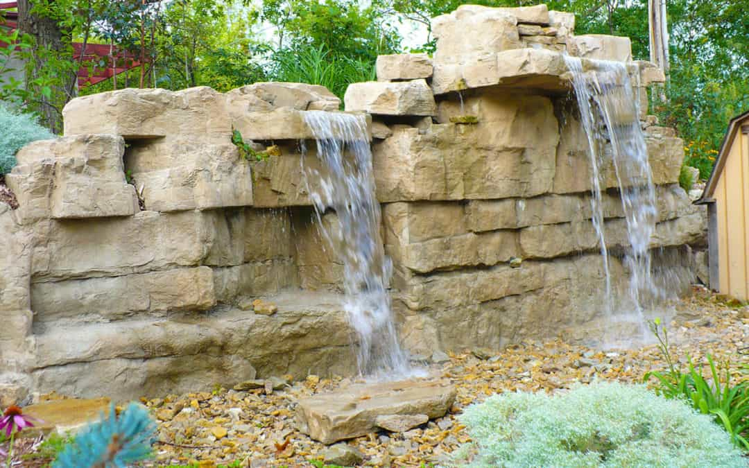 5′ Triple Waterfall Kit & Custom Limestone Artificial Rock Panels