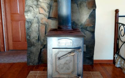 Faux Rock Wall Art Behind Wood Stove