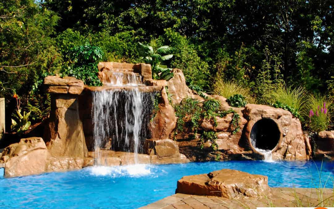 Various RicoRock Swimming Pool Faux Rock Grottos