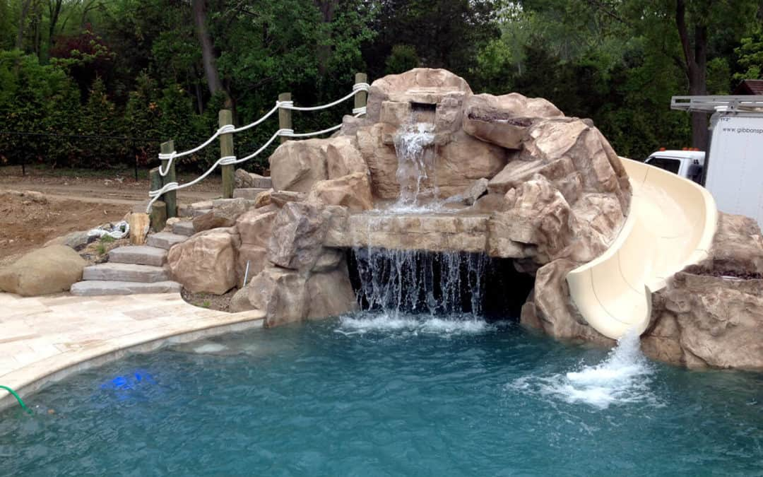 RicoRock Custom Faux Rock Grotto Waterfall with Slide
