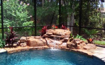 RicoRock Tennessee Ledger Swimming Pool Waterfall in a Wooded Environment