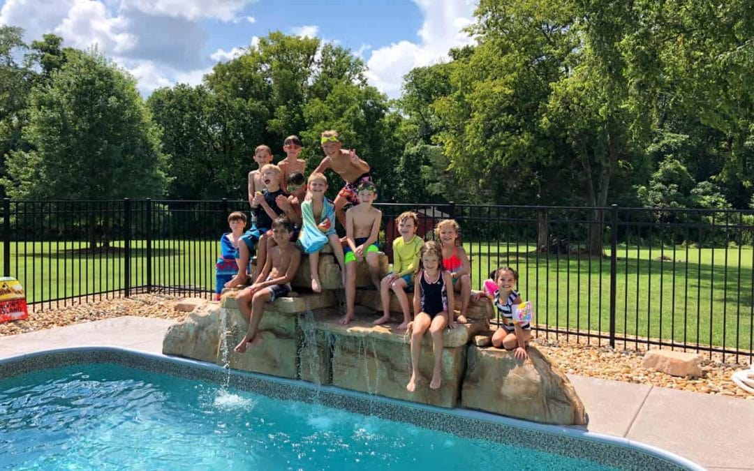 4 Foot Double Swimming Pool Waterfall Was the Star of This Birthday Party