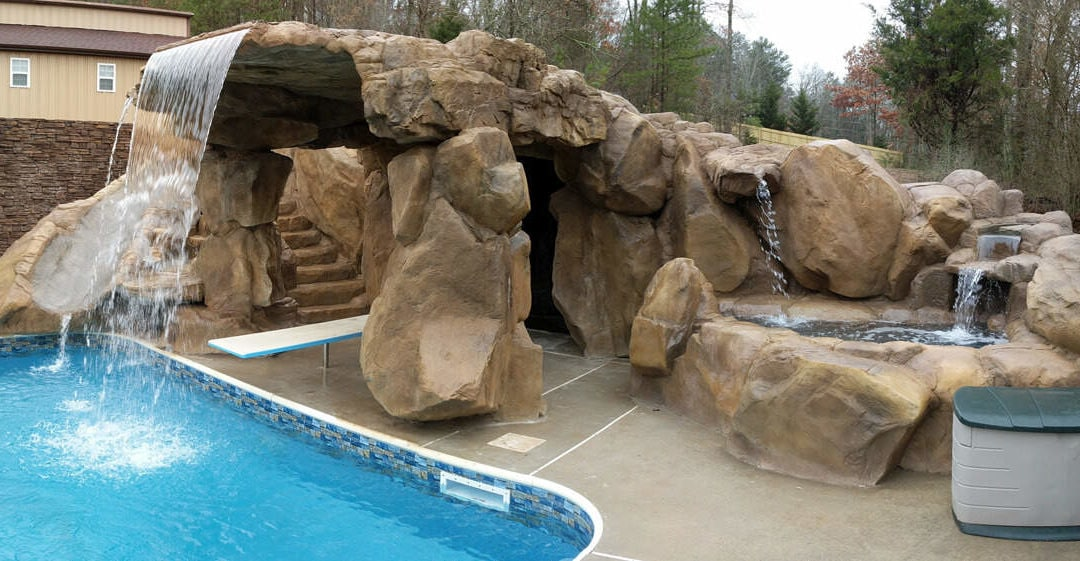 Backyard Paradise Featuring a Custom RicoRock Grotto