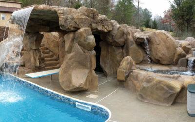 Backyard Paradise Featuring a Custom RicoRock Grotto