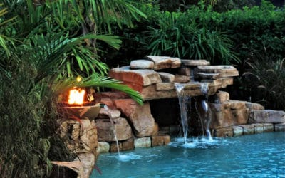 RicoRock Loveseat Grotto with Water and Fire Bowl