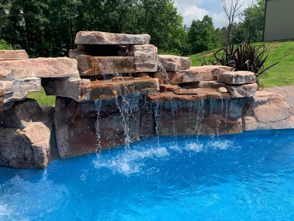 Creative Installation of RicoRock Swimming Pool Waterfall Kits