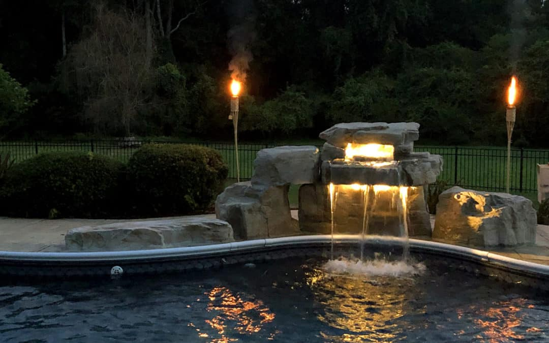 3 Foot Modular Swimming Pool Waterfall Kit with Lighting