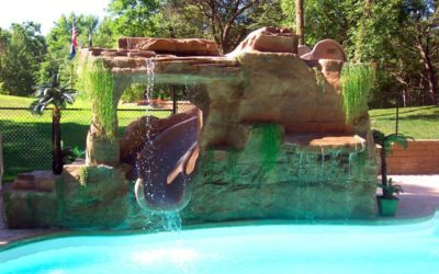 Custom Waterfall & Slide Enclosure Using RicoRock Faux Rock Panels