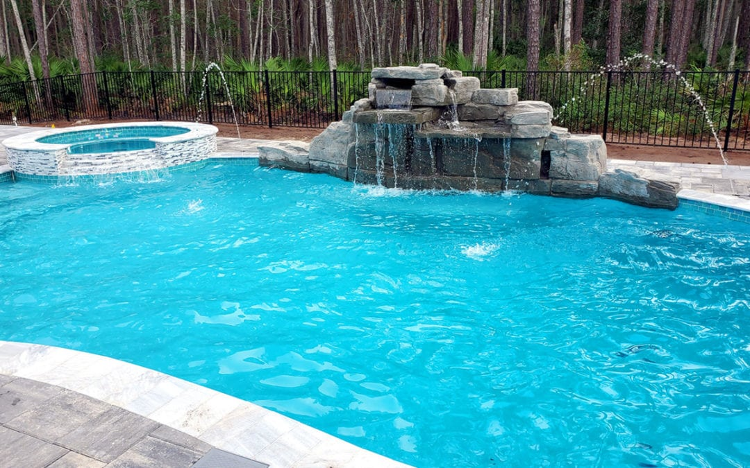 4 Foot Double Swimming Pool Waterfall Kit in Gray Granite