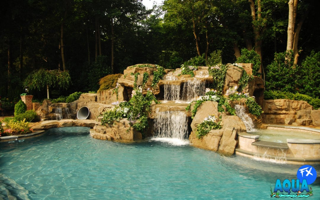Backyard Oasis Featuring RicoRock Faux Rock Waterfalls & Panels