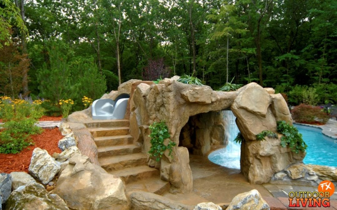Custom Faux Rock Grotto with Steppers