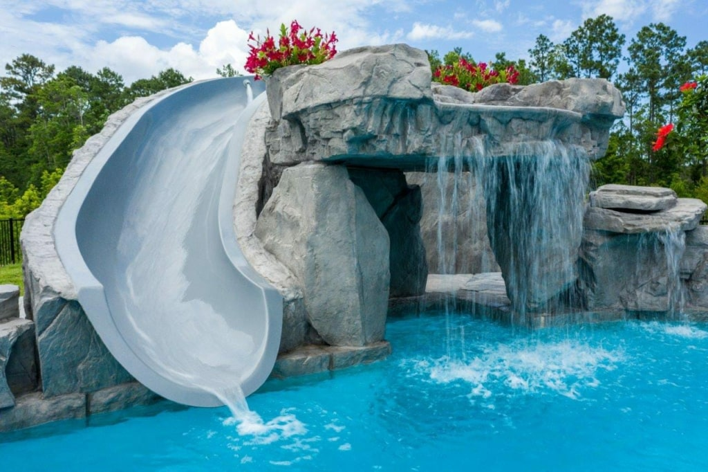 pool with grotto waterfall