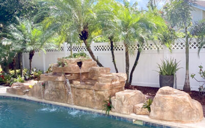 Faux Rock 4 Foot Double Swimming Pool Waterfall on Existing Pool