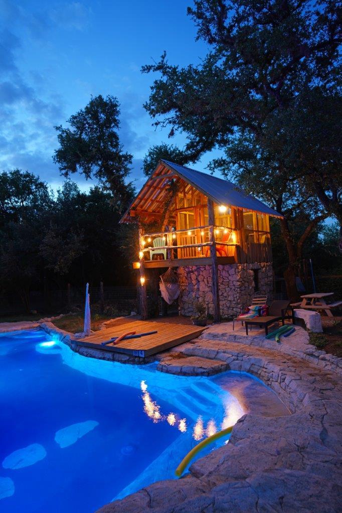 Night shot of treehouse