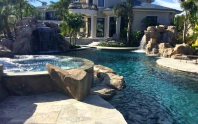 Backyard Oasis Featuring RicoRock Faux Rock Custom Waterfalls