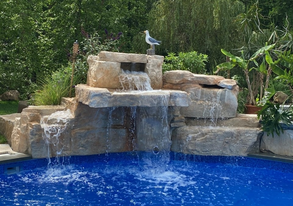 5 Foot Triple Waterfall adds drama to a NY backyard